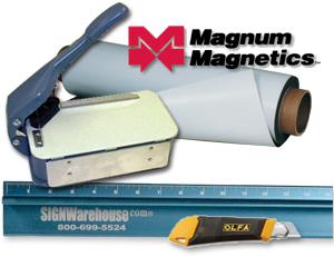 Flexible magnetic sheeting, Lasco Model 20 Cornerounder, Olfa knife, and Big Blue safety ruler