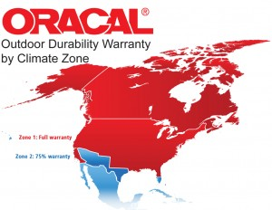 ORACAL Vinyl FIlm Warranty Zones