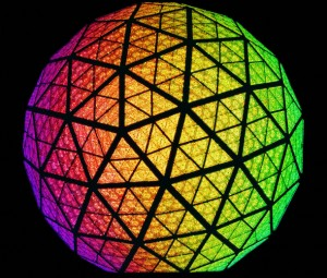 Times Square Ball Drop Orange Red Green