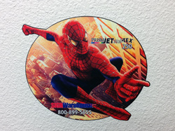 Applied wall decal typical of those created with PrismJET WallTEX printable fabric.