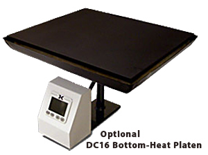 Fig 2: The optional bottom-heat platen for the Geo Knight DC16 heat press is an elegant solution.