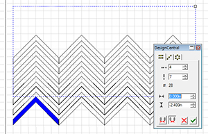 Fig 2: Use the step-and-repeat tool to turn one Chevron into a pattern.