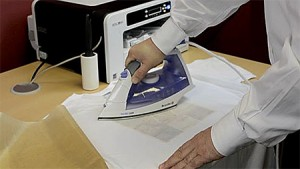 Fig 3: When applying ChromaBlast paper, be sure to iron the edges. Peel hot.