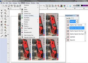 Screen shot from Vinyl Express LXI 12 Sign Software showing contour cut mark tools